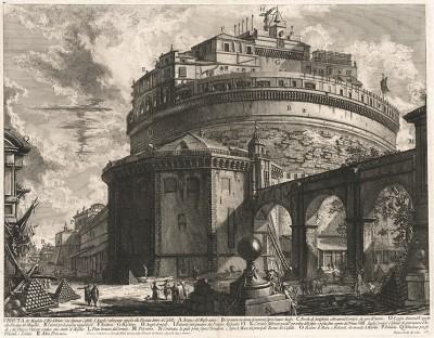 """Гравюра Пиранези """"Вид на Мавзолей Адриана (называемый замок Святого Ангела) с задней стороны"""". Veduta del Mausoleo d'Elio Adriano (ora chiamato Castello S. Angelo).  Лист из серии """"Vedute di Roma""""."""