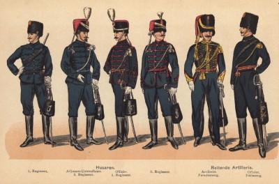 Голландские гусары 1-го, 2-го и 3-го полков. Конный артиллерист в парадной форме. Офицер конной артиллерии в полевой форме