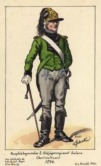 1796 г. Офицер егерского полка Salern армии королевства Бавария. Коллекция Роберта фон Арнольди. Германия, 1911-29