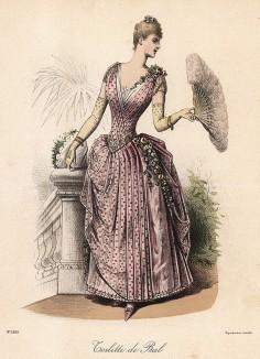 Розовое бальное платье, расшитое цветами, изящные перчатки и веер с перьями. Из французского модного журнала Le Coquet, выпуск 238, 1888 год