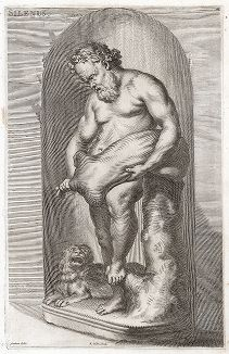 Силен с бурдюком. Лист из Sculpturae veteris admiranda ... Иоахима фон Зандрарта, Нюрнберг, 1680 год.
