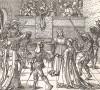 Танец с факелами на маскараде в Аугсбурге. Гравюра Дюрера из Freydal. Des Kaisers Maximilian I. Turniere und Mummereien (Репринт 1882 года. Вена)