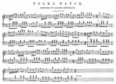 Ноты польки, написанной французским композитором и музыкантом Жаком Оффенбахом (1819 -- 1880 гг.), основоположником и наиболее ярким представителем французской оперетты (The Illustrated London News №99 от 23/03/1844 г.)