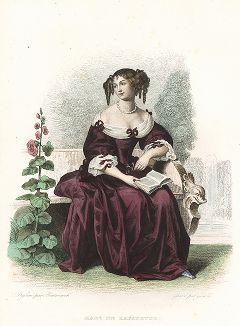 Мари Мадлен де Лафайет (1634-1693) - французская писательница. Лист из серии Le Plutarque francais..., Париж, 1844-47 гг.