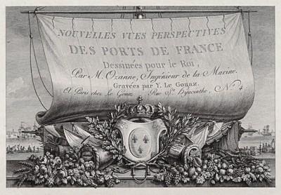 Титульный лист альбома гравюр Nouvelles vues perspectives des ports de France dessinées pour le Roi par M. Ozanne, Ingénieur de la Marine, изданного в Париже в 1791 году