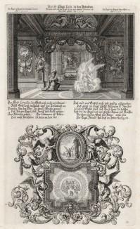 1. Благочестивый Корнилий видит ангела 2. Ангел выводит Филиппа на дорогу в Газу (из Biblisches Engel- und Kunstwerk -- шедевра германского барокко. Гравировал неподражаемый Иоганн Ульрих Краусс в Аугсбурге в 1694 году)