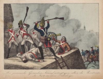 Подвиг прусского гренадера Крауэля, первым ворвавшегося на стены форта Зискаберг при осаде Праги (эпизод Семилетней войны)