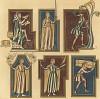 Старшие шесть братьев из Двенадцати месяцев по версии манускриптов XIII века (из Les arts somptuaires... Париж. 1858 год)