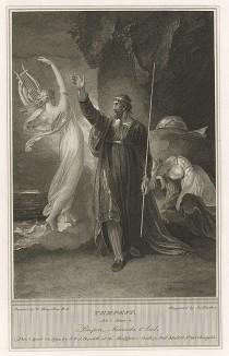 """Иллюстрация к пьесе Шекспира """"Буря"""", акт I, сцена II: Просперо отпускает Ариэль, в то время как Миранда отдыхает на камне у входа в пещеру. Boydell's Graphic Illustrations of the Dramatic works of Shakspeare, Лондон, 1803."""