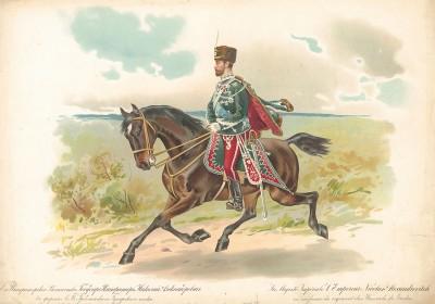 Его императорское величество государь император Николай Александрович в форме лейб-гвардии Гродненского гусарского полка.