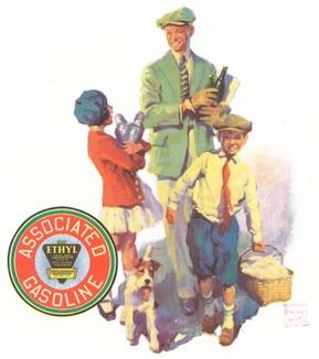 Реклама компании производителя топливных присадок Ethyl Corporation. Вильям Принц (1893 -- 1951 гг.) американский художник-иллюстратор. Гравер Sterling Engraving Co