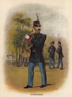 Музыкант полкового оркестра голландской армии (иллюстрация к работе Onze krijgsmacht met bijshriften... (голл.), изданной в Гааге в 1886 году)