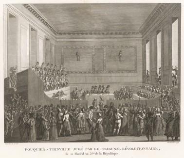Суд над Тенвилем. 1 мая 1795 г. предан суду бывший общественный обвинитель Революционного трибунала Антуан-Кантен Фукье де Тенвиль (1746-95), известный особой жестокостью. Он приговорен к смерти и 7 мая обезглавлен на Гревской площади. Париж, 1804
