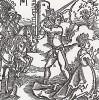 """Ииуй обезглавливает Иезавель (иллюстрация к книге """"Рыцарь Башни"""", гравированная Дюрером в 1493 году)"""