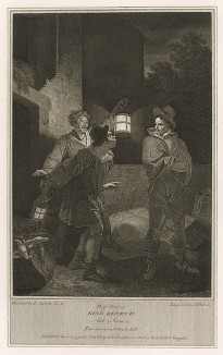 """Иллюстрация к исторической хронике Шекспира """"Генрих IV, часть 1"""", акт II, сцена I: Гедсхиль и извозчики во дворе гостиницы. Boydell's Graphic Illustrations of the Dramatic works of Shakspeare, Лондон, 1803."""