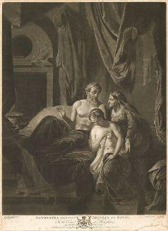 Вирсавия приводит Ависагу к Давиду. Гравюра Ричарда Ирлома с оригинала Адриана ван дер Верфа из коллекции Роберта Уолпола. Лист из издания The Houghton Gallery, Лондон, 1778.