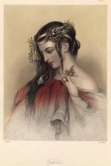 Офелия, героиня пьесы Уильяма Шекспира «Гамлет». The Heroines of Shakspeare. Лондон, 1848