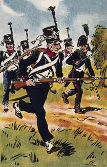 Атака французской легкой пехоты в сражении под Аустерлицем 5 декабря 1805 г. Коллекция Роберта фон Арнольди. Германия, 1911-29