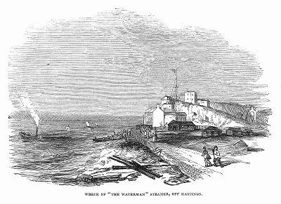 """Обломки парохода британского флота с названием """"Уотерман"""", потерпевшего крушение близ английского города Гастингс, расположенного в графстве Восточный Суссекс (The Illustrated London News №105 от 04/05/1844 г.)"""