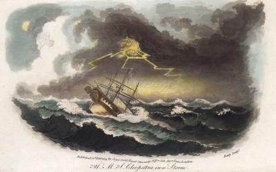 """HMS Cleopatra (1790) -- Его Величества Корабль """"Клеопатра"""" -- корабль 5 ранга, попавший в шторм"""