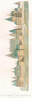 Фасад дворца в селе Коломенском с южной стороны. Древности Российского государства..., отд. VI, лист № 14, Москва, 1853.