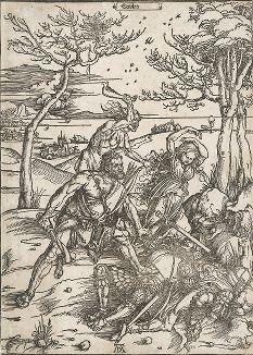 Геракл. Ксилография Альбрехта Дюрера, 1496-97 гг. Отпечаток сделан около 1511 года.