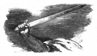 Прусский меч. Илл. Адольфа Менцеля. Geschichte Friedrichs des Grossen von Franz Kugler. Лейпциг, 1842, с.295