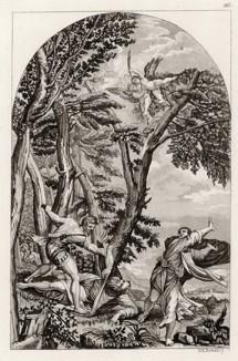 Видение в лесу (с работы Тициана) (из знаменитой работы Джулио Феррарио Il costume antico e moderno, o, storia... di tutti i popoli antichi e moderni, изданной в Милане в 1822 году (Европа. Том III))