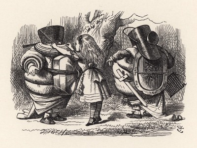 """""""Я очень бледный?"""" -- спросил Труляля, подходя к Алисе, чтобы она привязала ему шлем к голове (иллюстрация Джона Тенниела к книге Льюиса Кэрролла «Алиса в Зазеркалье», выпущенной в Лондоне в 1870 году)"""