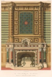 Роскошный английский мраморный камин от J. Trollops & sons, украшенный египетским орнаментом, ставшим популярным после египетских походов Бонапарта (Каталог Всемирной выставки в Лондоне. 1862 год. Том 1. Лист 64)