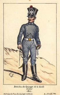 1811 г. Солдат частей снабжения императорской гвардии Наполеона. Коллекция Роберта фон Арнольди. Германия, 1911-28