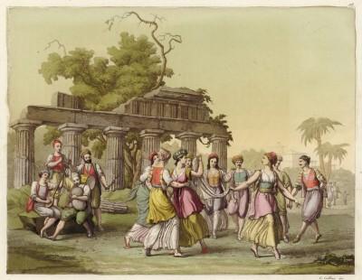 Греческий танец «Кандиотта» (из знаменитой работы Джулио Феррарио Il costume antico e moderno, o, storia... di tutti i popoli antichi e moderni, изданной в Милане в 1816 году (Европа. Том I))