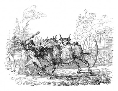 Итальянская кампания 1800 г. Бравые французские гренадеры бьются не только с врагом, но и с коровами, преградившими дорогу. Histoire de l'empereur Napoléon. Париж, 1840