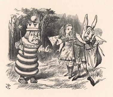 """""""Ты меня пугаешь! -- сказал Король. -- Мне дурно... Дай мне запеканки!""""(иллюстрация Джона Тенниела к книге Льюиса Кэрролла «Алиса в Зазеркалье», выпущенной в Лондоне в 1870 году)"""
