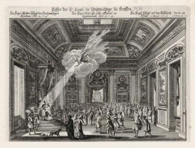 Ангел Господень поражает царя Ирода (из Biblisches Engel- und Kunstwerk -- шедевра германского барокко. Гравировал неподражаемый Иоганн Ульрих Краусс в Аугсбурге в 1694 году)