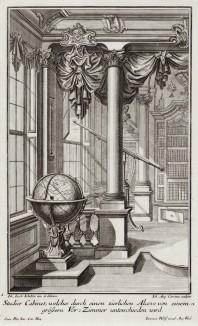 Рококо. Земная сфера и телескоп в интерьере библиотеки. Johann Jacob Schueblers Beylag zur Ersten Ausgab seines vorhabenden Wercks. Нюрнберг, 1730