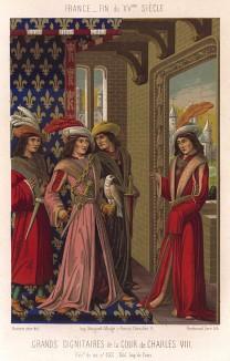 Король Франции Кaрл VIII Любезный (1470--1480) с охотничьим соколом (из Les arts somptuaires... Париж. 1858 год)