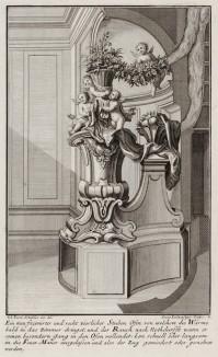Печь в гостиной, украшенная фигурками ангелов и цветами. Johann Jacob Schueblers Beylag zur Ersten Ausgab seines vorhabenden Wercks. Нюрнберг, 1730