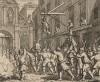 Сожжение охвостья у Темпл-Бар. Крестовый поход рыцаря Гудибраса и его оруженосца кончается плачевно. Чучело Ральфа приговаривают к повешению, а чучело Гудибраса сжигают. Иллюстрация к поэме «Гудибрас». Лондон, 1732