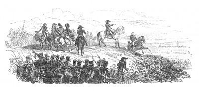 13 октября 1805 г. император Наполеон прибывает в Ульмский лагерь, где после осмотра позиций приказывает занять мост и окрестности Эльхингена для окружения армии противника. Histoire de l'empereur Napoléon. Париж, 1840