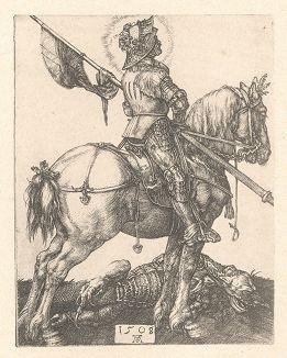 Святой Георгий Победоносец на лошади. Гравюра Альбрехта Дюрера, выполненная в 1508 году (Репринт 1928 года. Лейпциг)