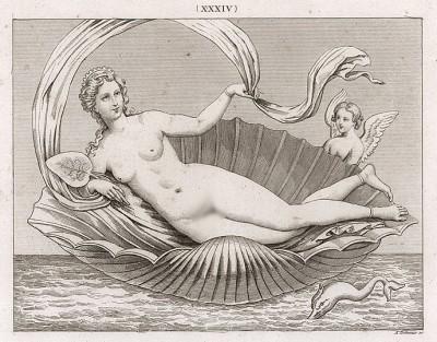 Венера (Афродита) в раковине. Высота 1 фут 10 дюймов, ширина 3 дюйма. Это изображение богини любви Венеры (Афродиты) найдено в 1762 г. в Граньяно. Богиню сопровождают Купидон (Амур) и дельфин. В её руке - лист кувшинки.