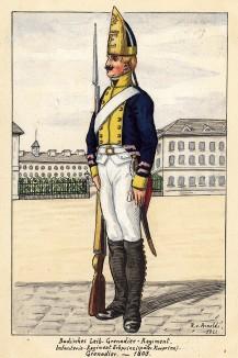 1803 г. Солдат лейб-гренадерского полка Великого герцогства Баден на посту. Коллекция Роберта фон Арнольди. Германия, 1911-29