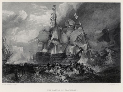 """Трафальгарское сражение 21 октября 1805 г. Лист из альбома """"Галерея Тёрнера"""", Нью-Йорк, 1875"""