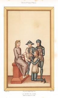 Секс-символ 960 года до н.э., героиня Ветхого завета, правительница аравийского царства Сабы, Македа, принимает подарки от царя Соломона (из Les arts somptuaires... Париж. 1858 год)