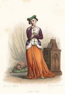 Агнесса Сорель (1422-1450) - куртизанка и возлюбленная короля Франции Карла VII, одна из красивейших женщин своего времени. Лист из серии Le Plutarque francais..., Париж, 1844-47 гг.