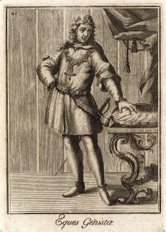 Рыцарь ордена Метлы, основанного королем Франции Карлом VI в 1388 г. Catalogo degli ordini equestri, e militari еsposto in imagini, e con breve racconto. Рим, 1741