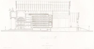 План X. Продольный разрез по осям C и D (из альбома Reconstruction du Grand Théâtre de Moscou dit Petrovski, посвящённого открытию Большого театра после реконструкции 20 августа 1856 года и коронации императора Александра II. Париж, 1859