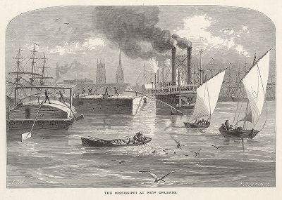 """Река Миссисипи в районе Нового Орлеана, штат Луизиана. Лист из издания """"Picturesque America"""", т.I, Нью-Йорк, 1872."""