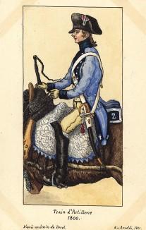1800 г. Погонщик французской конной артиллерии. Коллекция Роберта фон Арнольди. Германия, 1911-29